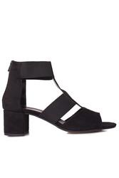 Loggalin 111212 008 Kadın Siyah Topuklu Büyük & Küçük Numara Sandalet - Thumbnail