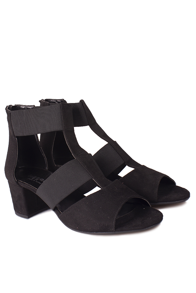 Loggalin 111212 008 Kadın Siyah Topuklu Büyük & Küçük Numara Sandalet