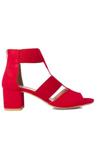 Fitbas 111212 527 Kadın Kırmızı Topuklu Büyük & Küçük Numara Sandalet