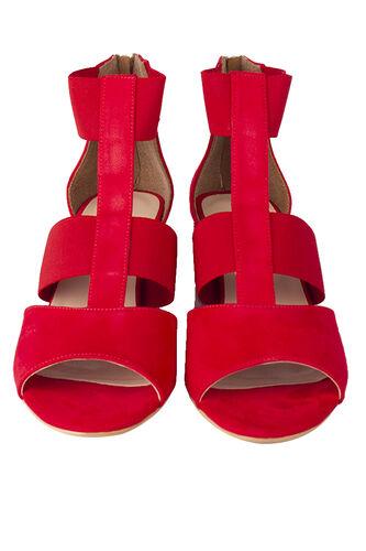 Fitbas - Fitbas 111212 527 Kadın Kırmızı Topuklu Büyük & Küçük Numara Sandalet (1)
