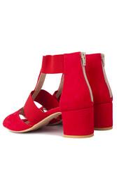 Fitbas 111212 527 Kadın Kırmızı Topuklu Büyük & Küçük Numara Sandalet - Thumbnail