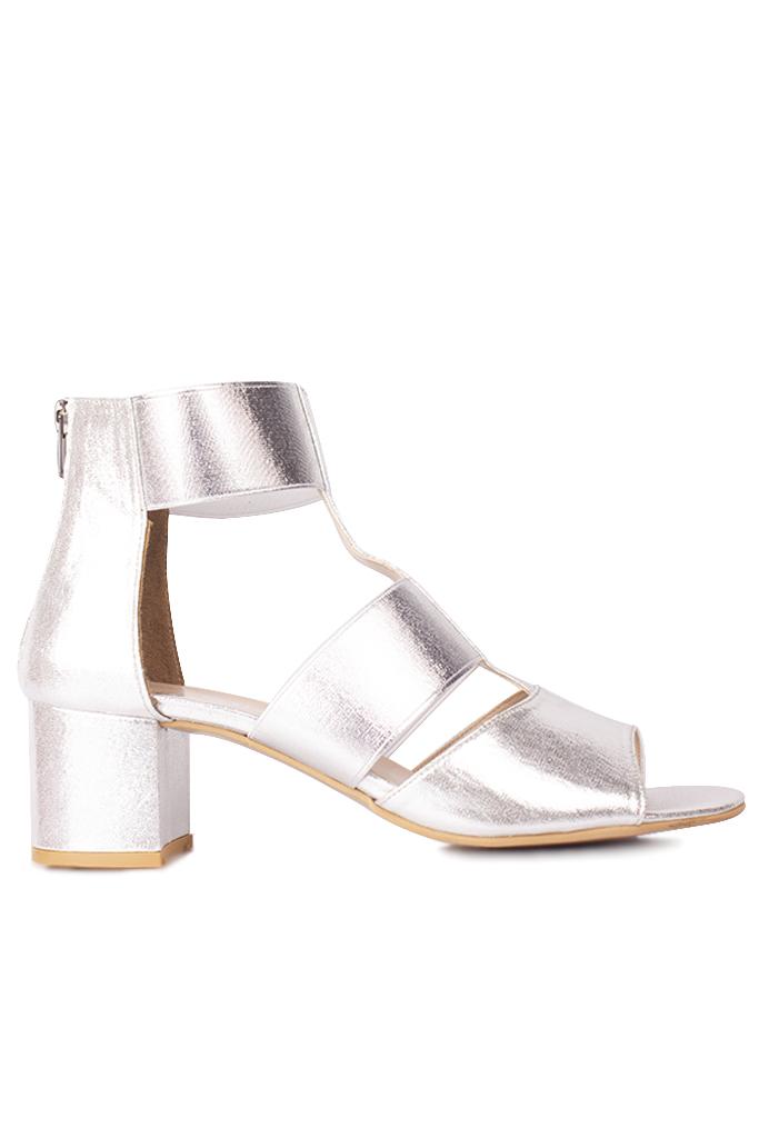 Fitbas 111212 771 Kadın Gümüş Topuklu Büyük & Küçük Numara Sandalet