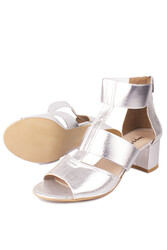 Fitbas 111212 771 Kadın Gümüş Topuklu Büyük & Küçük Numara Sandalet - Thumbnail