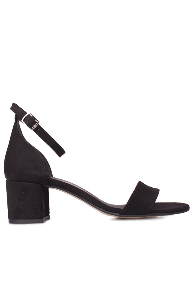 Fitbas 111272 008 Kadın Siyah Süet Topuklu Büyük & Küçük Numara Sandalet