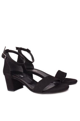 Loggalin - Loggalin 111272 008 Kadın Siyah Süet Topuklu Büyük & Küçük Numara Sandalet (1)