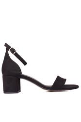 Fitbas 111272 008 Kadın Siyah Süet Topuklu Büyük & Küçük Numara Sandalet - Thumbnail