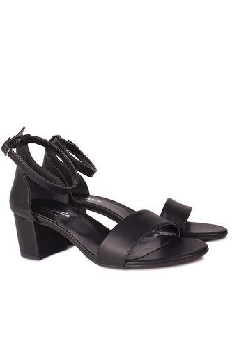 Fitbas - Fitbas 111272 014 Kadın Siyah Topuklu Büyük & Küçük Numara Sandalet (1)