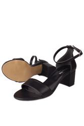 Fitbas 111272 014 Kadın Siyah Topuklu Büyük & Küçük Numara Sandalet - Thumbnail
