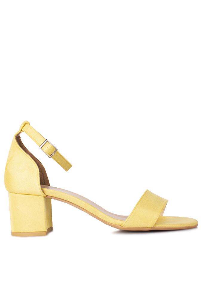 Fitbas 111272 127 Kadın Limon Sarı Süet Topuklu Büyük & Küçük Numara Sandalet