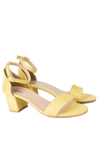 Fitbas - Fitbas 111272 127 Kadın Limon Sarı Süet Topuklu Büyük & Küçük Numara Sandalet (1)