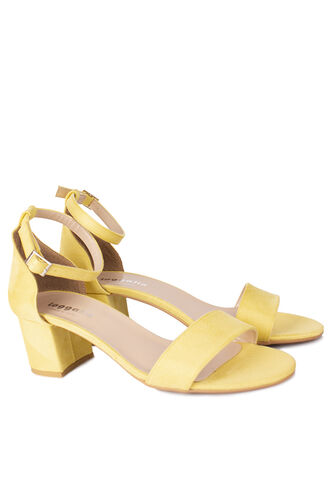 Loggalin - Loggalin 111272 127 Kadın Limon Sarı Süet Topuklu Sandalet (1)