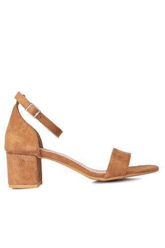 Fitbas 111272 167 Kadın Taba Süet Topuklu Büyük & Küçük Numara Sandalet