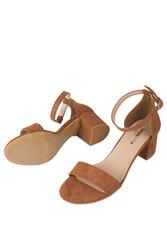 Fitbas 111272 167 Kadın Taba Süet Topuklu Büyük & Küçük Numara Sandalet - Thumbnail