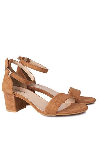 Fitbas - Fitbas 111272 167 Kadın Taba Süet Topuklu Büyük & Küçük Numara Sandalet (1)