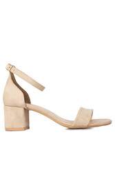 Fitbas 111272 327 Kadın Ten Süet Topuklu Büyük & Küçük Numara Sandalet - Thumbnail