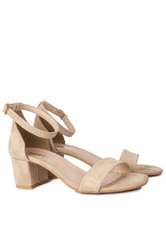 Fitbas - Fitbas 111272 327 Kadın Ten Süet Topuklu Büyük & Küçük Numara Sandalet (1)