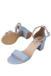 Fitbas 111272 424 Kadın Bebe Mavi Cilt Topuklu Büyük & Küçük Numara Sandalet - Thumbnail
