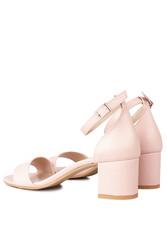 Fitbas 111272 719 Kadın Pudra Cilt Topuklu Büyük & Küçük Numara Sandalet - Thumbnail