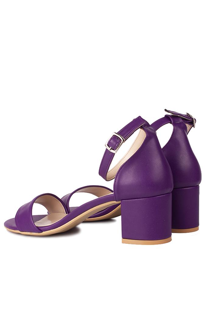 Loggalin 111272 814 Kadın Mor Cilt Topuklu Büyük & Küçük Numara Sandalet