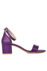 Fitbas 111272 814 Kadın Mor Cilt Topuklu Büyük & Küçük Numara Sandalet - Thumbnail