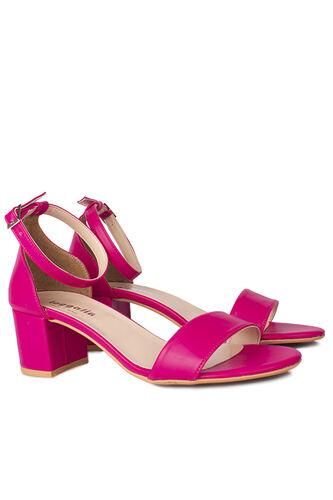 Fitbas - Fitbas 111272 914 Kadın Fuşya Cilt Topuklu Büyük & Küçük Numara Sandalet (1)