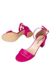 Fitbas 111272 914 Kadın Fuşya Cilt Topuklu Büyük & Küçük Numara Sandalet - Thumbnail