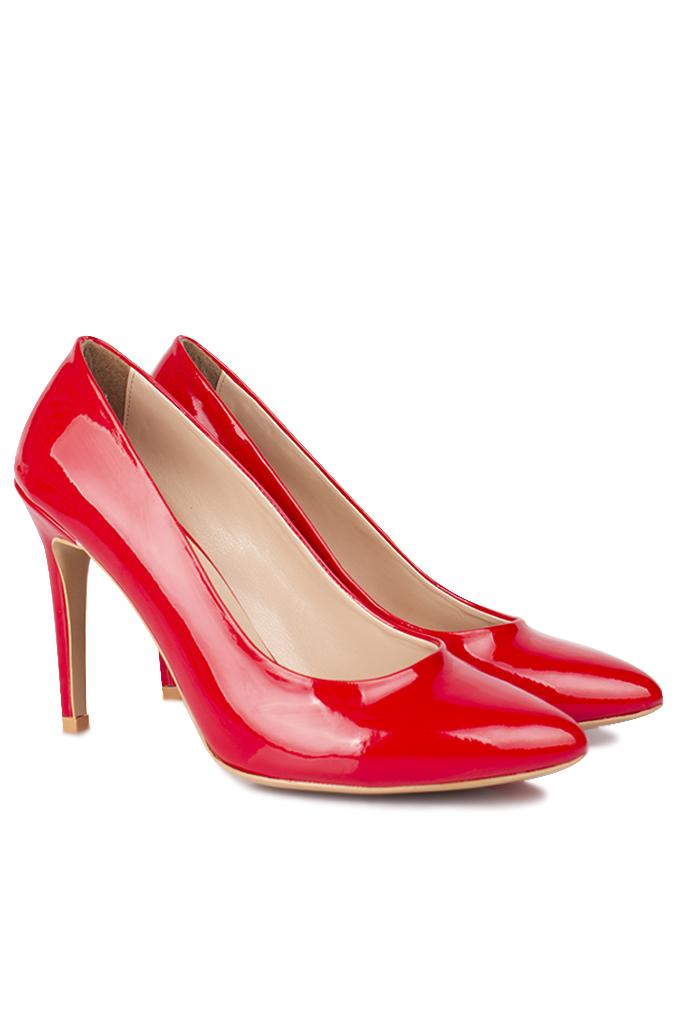Loggalin 111501 559 Kadın Kırmızı Rugan Büyük & Küçük Numara Stiletto