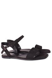 Loggalin 111602 008 Kadın Siyah Büyük & Küçük Numara Sandalet - Thumbnail