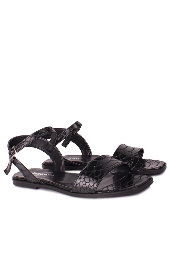 Fitbas 111602 066 Kadın Siyah Kroko Büyük & Küçük Numara Sandalet