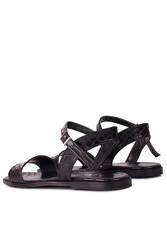 Fitbas 111602 066 Kadın Siyah Kroko Büyük & Küçük Numara Sandalet - Thumbnail