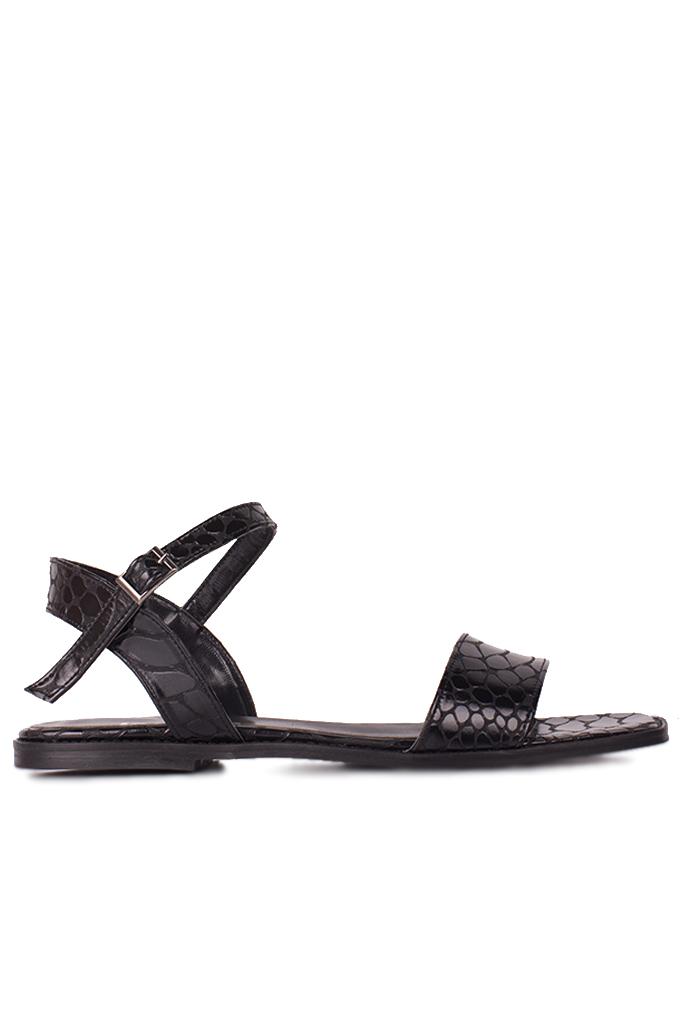 Loggalin 111602 066 Kadın Siyah Kroko Büyük & Küçük Numara Sandalet