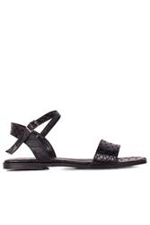 Loggalin 111602 066 Kadın Siyah Kroko Büyük & Küçük Numara Sandalet - Thumbnail