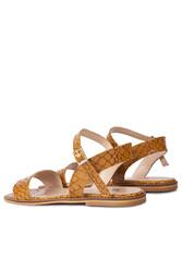 Fitbas 111602 166 Kadın Taba Kroko Büyük & Küçük Numara Sandalet - Thumbnail