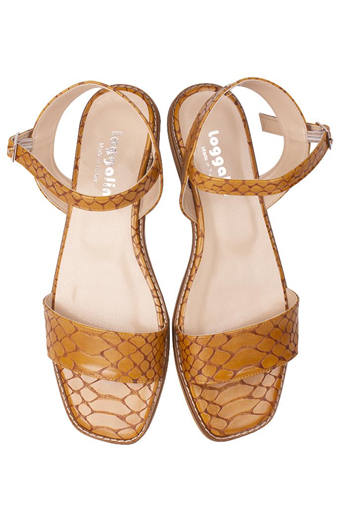Fitbas 111602 166 Kadın Taba Kroko Büyük & Küçük Numara Sandalet