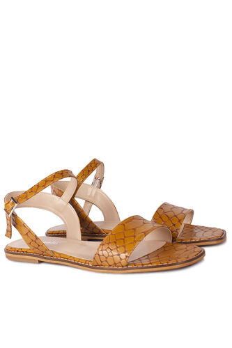 Loggalin - Loggalin 111602 166 Kadın Taba Kroko Sandalet (1)