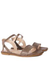 Fitbas 111602 366 Kadın Vizon Kroko Büyük & Küçük Numara Sandalet - Thumbnail