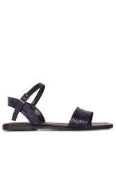 Fitbas 111602 466 Kadın Lacivert Kroko Büyük & Küçük Numara Sandalet - Thumbnail