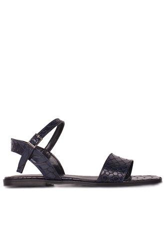 Fitbas 111602 466 Kadın Lacivert Kroko Büyük & Küçük Numara Sandalet