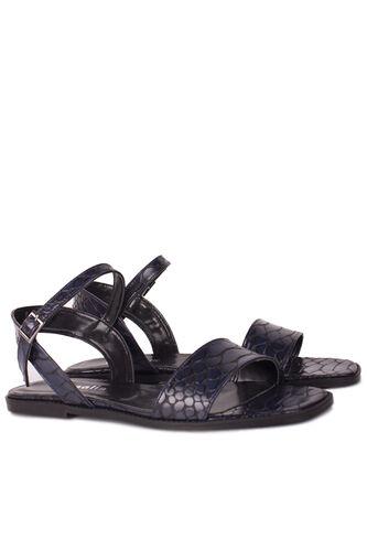 Loggalin - Loggalin 111602 466 Kadın Lacivert Kroko Büyük & Küçük Numara Sandalet (1)