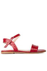 Fitbas 111602 566 Kadın Kırmızı Kroko Büyük & Küçük Numara Sandalet - Thumbnail