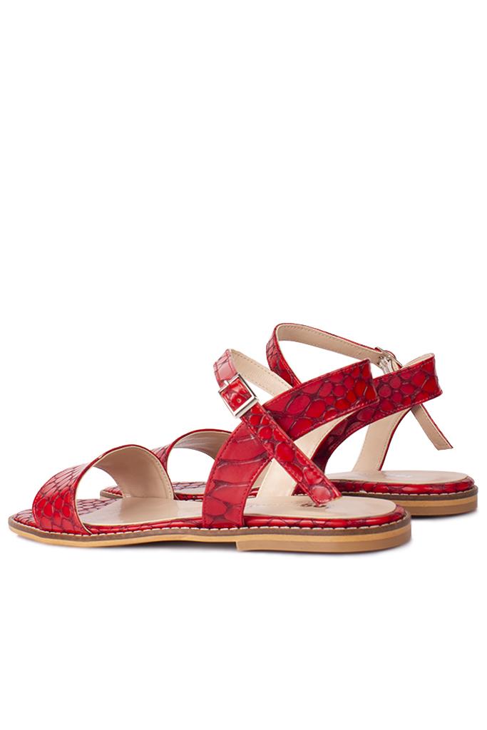 Fitbas 111602 566 Kadın Kırmızı Kroko Büyük & Küçük Numara Sandalet