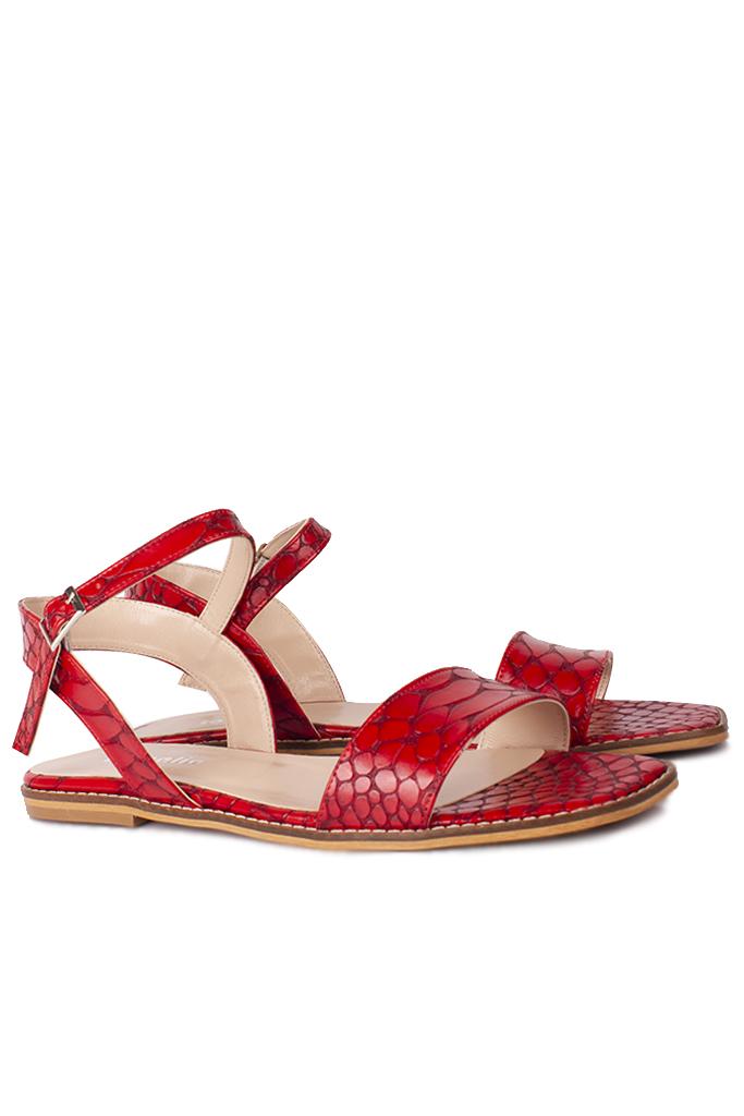 Loggalin 111602 566 Kadın Kırmızı Kroko Büyük & Küçük Numara Sandalet