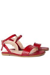 Loggalin 111602 566 Kadın Kırmızı Kroko Büyük & Küçük Numara Sandalet - Thumbnail