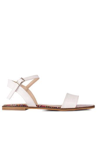 Loggalin 111602 960 Kadın Beyaz Büyük & Küçük Numara Sandalet