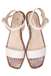 Loggalin 111602 960 Kadın Beyaz Büyük & Küçük Numara Sandalet - Thumbnail
