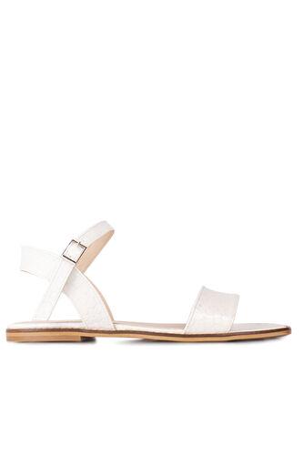 Fitbas 111602 666 Kadın Beyaz Kroko Büyük & Küçük Numara Sandalet