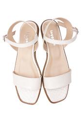 Fitbas 111602 666 Kadın Beyaz Kroko Büyük & Küçük Numara Sandalet - Thumbnail