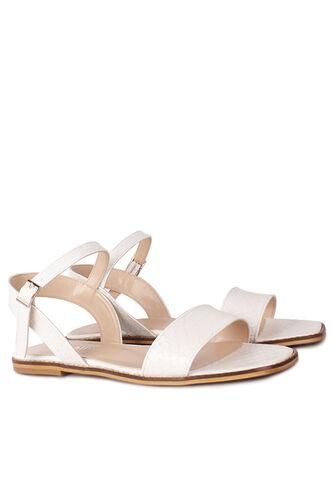 Loggalin - Loggalin 111602 666 Kadın Beyaz Kroko Büyük & Küçük Numara Sandalet (1)