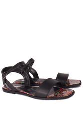 Fitbas 111602 940 Kadın Siyah Büyük & Küçük Numara Sandalet - Thumbnail