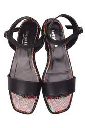 Loggalin 111602 940 Kadın Siyah Büyük & Küçük Numara Sandalet - Thumbnail